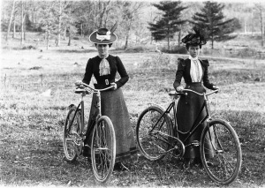 Women on safety bicycles