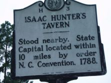 Historical marker for Isaac Hunter's tavern