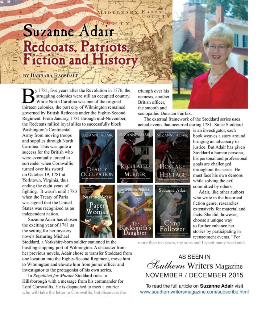 Suzanne Adair feature in Southern Writers Magazine Nov-Dec 2015