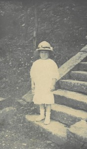 Margaret, age 3, on Kuling steps 1915